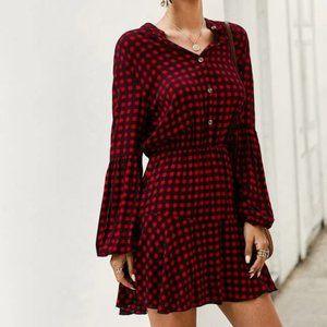 Red/Black Gingham Shirt Dress in XL